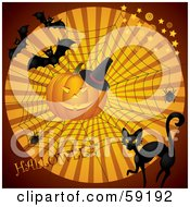 Royalty Free RF Clipart Illustration Of A Red Halloween Background With A Black Cat Spiders Web Pumpkin And Bats