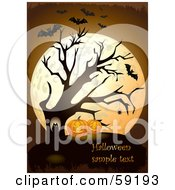 Royalty Free RF Clipart Illustration Of An Owl In A Bare Tree By Halloween Pumpkins In Front Of A Full Moon With Vampire Bats