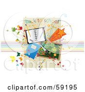 Royalty Free RF Clipart Illustration Of A Back To School Background With School Supplies Stars Butterflies And Grunge by Eugene