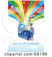 Royalty Free RF Clipart Illustration Of A Back To School Background With Supplies In A Bag Under A Shooting Rainbow With Fireworks And Butterflies by Eugene #COLLC59196-0054