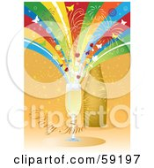 Party Time Background With Colorful Rays Fireworks And Butterflies Shooting Out Of Champagne