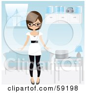 Royalty Free RF Clipart Illustration Of A Friendly Young Woman Proudly Showing Off Her Blue Living Room