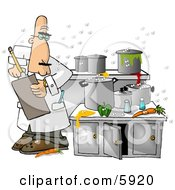 Food Health Inspector Inspecting A Dirty Kitchen At A Restaurant Clipart Picture