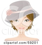 Royalty Free RF Clipart Illustration Of A Young Woman With Short Dirty Blond Hair Wearing A Hat