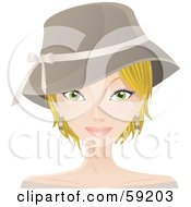 Royalty Free RF Clipart Illustration Of A Pretty Blond Woman With Short Hair Wearing A Hat