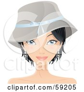 Royalty Free RF Clipart Illustration Of A Pretty Woman With Short Black Hair Wearing A Hat