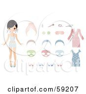 Royalty Free RF Clipart Illustration Of A Paper Doll Woman Shown With Facial Masks Clothes And Cosmetics