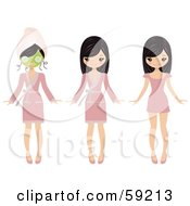 Royalty Free RF Clipart Illustration Of A Pretty Girl Shown Wearing A Face Mask A Robe And Then In A Dress by Melisende Vector