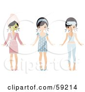 Royalty Free RF Clipart Illustration Of A Pretty Young Woman Shown Wearing A Face Mask And Pajamas