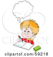 Royalty Free RF Clipart Illustration Of A Thinking School Boy Doing His Homework by Alex Bannykh #COLLC59218-0056