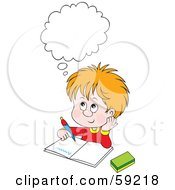 Royalty Free RF Clipart Illustration Of A Thinking School Boy Doing His Homework by Alex Bannykh