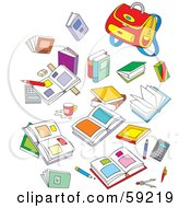 Royalty Free RF Clipart Illustration Of A Mess Of School Books And Supplies by Alex Bannykh