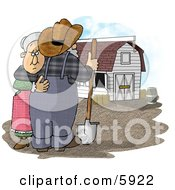 Sad Farmer Wife Hugging Her Husband Who Is Looking At Their Barn Clipart Picture by Dennis Cox