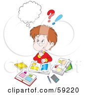 Royalty Free RF Clipart Illustration Of A Confused Boy Doing His Homework Surrounded By Clutter by Alex Bannykh