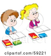 Royalty Free RF Clipart Illustration Of Male And Female Students Sitting In Class by Alex Bannykh #COLLC59221-0056