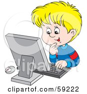Royalty Free RF Clipart Illustration Of An Excited School Boy Using A Computer by Alex Bannykh