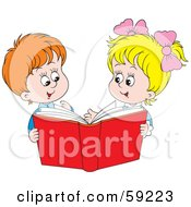 Royalty Free RF Clipart Illustration Of A Boy And Girl Sharing A Red Book