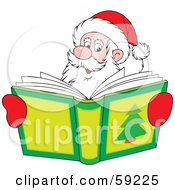 Royalty Free RF Clipart Illustration Of Santa Smiling Over A Christmas Story Book