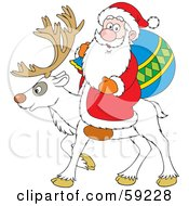 Royalty Free RF Clipart Illustration Of A Santa Riding On The Back Of A White Reindeer by Alex Bannykh