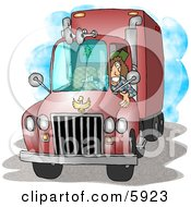 Female Trucker Driving An 18 Wheeler Big Rig Clipart Picture by djart