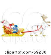 Royalty Free RF Clipart Illustration Of A White Reindeer Pulling Santa In His Sleigh by Alex Bannykh