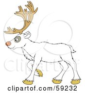 Royalty Free RF Clipart Illustration Of A Walking White Reindeer In Profile by Alex Bannykh