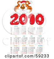 Royalty Free RF Clipart Illustration Of A 2010 Year Tiger Calendar by Alex Bannykh
