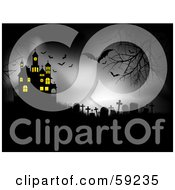 Royalty Free RF Clipart Illustration Of A Spooky Night With Vampire Bats Over A Cemetery By A Haunted House