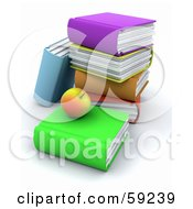 Royalty Free RF Clipart Illustration Of A 3d Stack Of Colorful Books And An Apple by KJ Pargeter