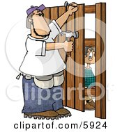 Boy Watching A Man Build A Wooden Fence Clipart Picture