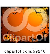 Royalty Free RF Clipart Illustration Of An Orange Halloween Background Bordered In Black Grunge With A Cat Graveyard Bats And Pumpkins by KJ Pargeter