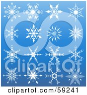 Royalty Free RF Clipart Illustration Of A Digital Collage Of Ornate White Snowflakes On Blue