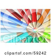 Royalty Free RF Clipart Illustration Of A Circle Formed By Colorful Pencils With Their Tips In The Center by Frog974
