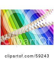 Royalty Free RF Clipart Illustration Of Two Rows Of Colored Pencils With Their Tips Pointing Inwards Version 2