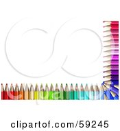 Royalty Free RF Clipart Illustration Of An Array Of Colored Pencils Bordering The Bottom And Right Edges Of A White Background by Frog974