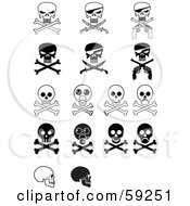 Royalty-Free (RF) Clipart Illustration of a Digital Collage Of Evil Skulls And Crossbones by J Whitt #COLLC59251-0082