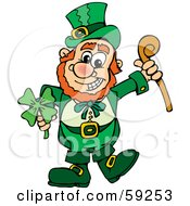 St Patricks Day Leprechaun Holding A Clover And Cane