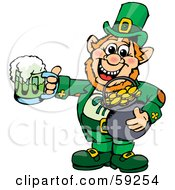 St Patricks Day Leprechaun Holding A Pot Of Gold And Green Beer
