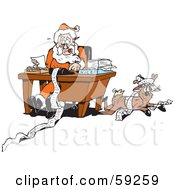 Royalty Free RF Clipart Illustration Of A Reindeer Resting Beside Santa As He Organizes His Naughty And Nice Lists by Dennis Holmes Designs