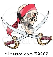 Royalty Free RF Clipart Illustration Of A Human Pirate Skull With Crossed Swords by Dennis Holmes Designs