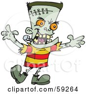 Frankenstein Kid With Orange Eyes Holding His Arms Out And Walking