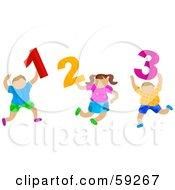 School Children Carrying 1 2 3 Numbers