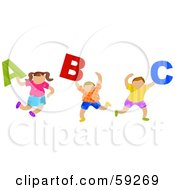 School Children Carrying ABC Letters