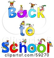 Stick Children Playing On Back To School Text