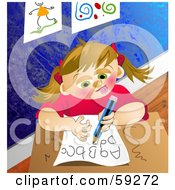 Royalty Free RF Clipart Illustration Of A School Girl Writing Her Alphabet On A Piece Of Paper by Prawny