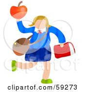 Royalty Free RF Clipart Illustration Of A School Girl Carrying Bags And An Apple by Prawny