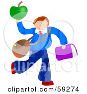 Royalty Free RF Clipart Illustration Of A School Boy Carrying Bags And An Apple by Prawny