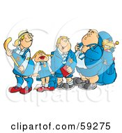 Royalty Free RF Clipart Illustration Of A Group Of School Children Waiting At A Bus Stop by Snowy