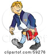 Royalty Free RF Clipart Illustration Of A High School Boy Walking And Carrying A Book by Snowy