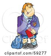Royalty Free RF Clipart Illustration Of A High School Boy Waiting For The Bus Holding A Book And Backpack by Snowy